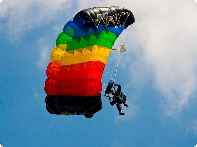 Fallschirmspringen am Stadtrand von Stralsund
