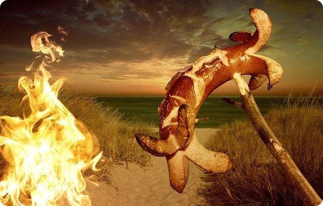 Kurzurlaub mit einem Lagerfeuer am Strand von Bremen