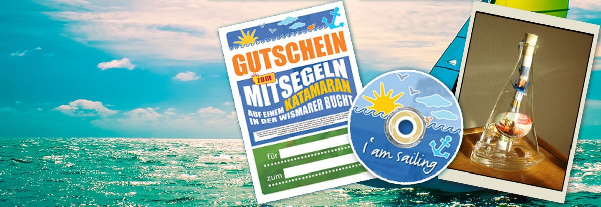 Segelgutschein mit CD für das Katamaran segeln, Gutschein in Flaschenpost