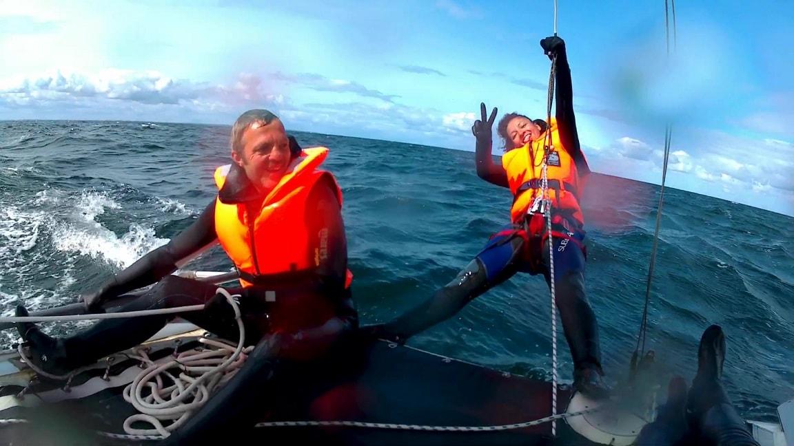 Katamaran segeln im Trapez