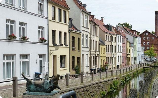 Die historische Mühlengrube in Wismar.